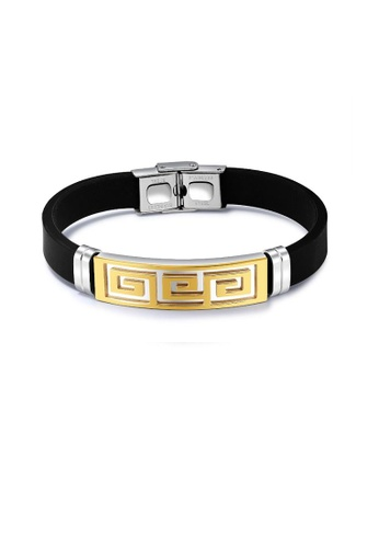 ADORA silver and gold Stainless Steel Silicon Bracelet 78399AC90A97CAGS_1
