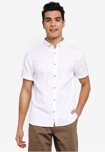 LC Waikiki 白色 Slim Fit Twill Short Sleeve Shirt 9B7FDAAEB8341AGS_1