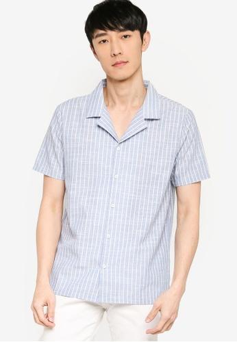 ZALORA BASICS multi Camp Collar Stripe Shirt 602BEAA9101498GS_1