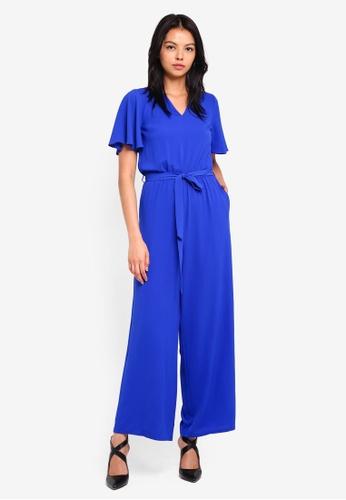 Dorothy Perkins blue Petite Cobalt Tie Front Jumpsuit 08414AA039C34DGS_1