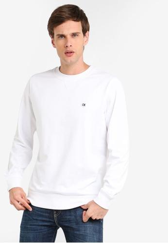 Calvin Klein 白色 圓領棉T BE1A5AA4915E08GS_1