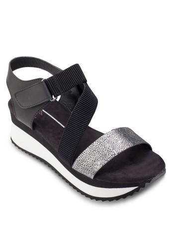 異材質繞踝厚底涼鞋, esprit 會員女鞋, 楔形涼鞋