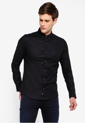 dd5870fc0832 Burton Menswear London black Black Long Sleeve Stretch Skinny Fit Oxford  Shirt CEC47AA7DFCCD8GS_1