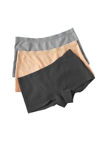 YSoCool black and grey and beige 3 Pcs Set Stretch Soft Cotton Women Boyshort Panties 9E18BUSE65A7B2GS_1