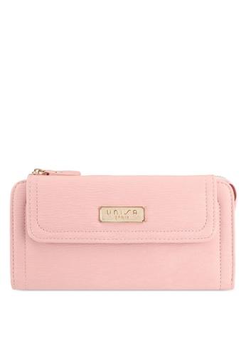 Unisa pink Contrast Stitching Ladies Zip-Up Clutch Wallet 98571AC6ACE89CGS_1