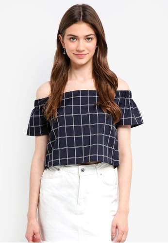 Something Borrowed navy Off Shoulder Top E38A3AA0CD279BGS_1