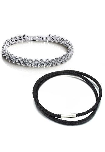 YOUNIQ silver YOUNIQ Dazzling Platinum Plated Bracelet & Duo Slim Steel Genuine Leather Bracelet (Couple Set) - Silver YO999AC06CZXMY_1