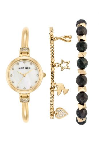 Anne Klein Gold Woman S Bead Bracelet Watch Set Ak 2840lbdt