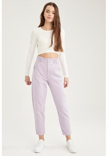 DeFacto purple High Waist Cotton Trousers 79334AAF8E94BEGS_1