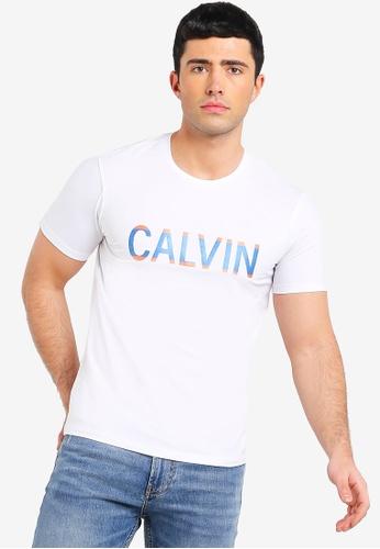 Calvin Klein 白色 LOGO印花T恤 9B1A2AA36FDD18GS_1