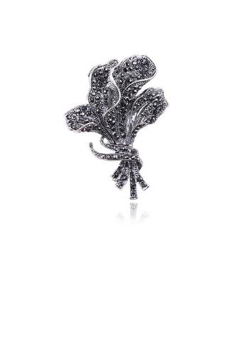 Glamorousky black Fashion Bright Flower Brooch with Cubic Zirconia F1C61ACD49130CGS_1