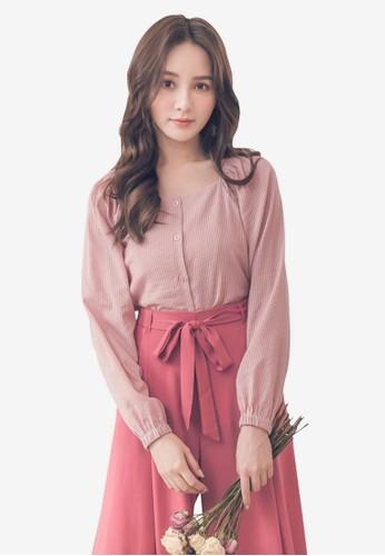Yoco pink Smocked Puff Sleeve Top 5FD14AA39FAD28GS_1