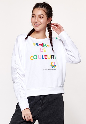 United Colors of Benetton white Crew-neck Printed Sweater 39362AA4687EF2GS_1