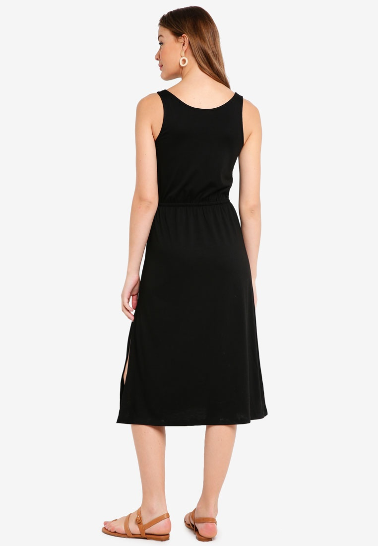 ZALORA Basic Midi Black BASICS Drawstring Dress wx4CPAqx