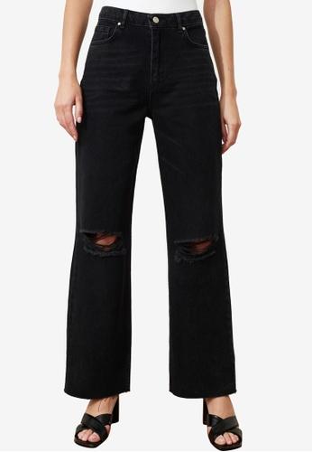 Trendyol black Distressed High Waist Wide Leg Jeans 19C81AA67B229DGS_1