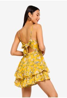 3fef333085 INDIKAH yellow Tiered Ruffle Hem Floral Playsuit 064BFAA272784BGS 1