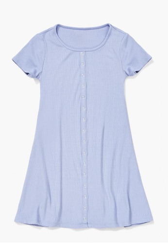 FOREVER 21 blue Ribbed Button-Front Dress CEC0BKAA0D7579GS_1