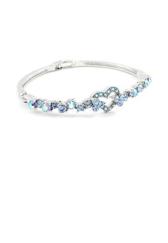 Glamorousky blue Elegant Bangle with Blue Austrian Element Crystals D8037AC3031334GS_1