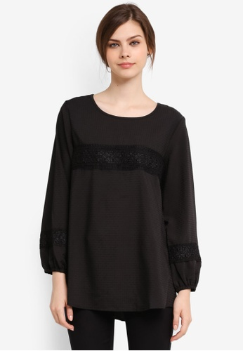 TOPGIRL black Lace Sleeves Blouse TO597AA0SJPYMY_1