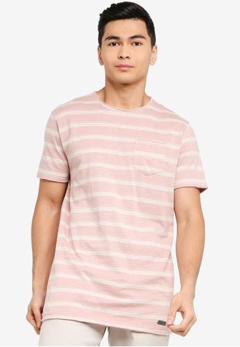 Brave Soul pink Slub Stripe Crew Neck T-Shirt E94A7AAAC0A97EGS_1