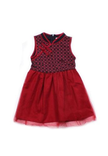 Mini Moley navy Oriental Rings Print Cheongsam Inspired Girl's Bubble Dress ABB15KAB837B42GS_1