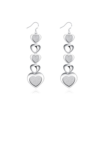 Glamorousky silver Fashion Romantic Frosted Heart Earrings 66D74AC5A65399GS_1