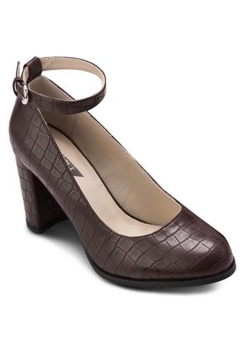 暗紋繞踝粗跟鞋,zalora 台灣門市 女鞋, 鞋