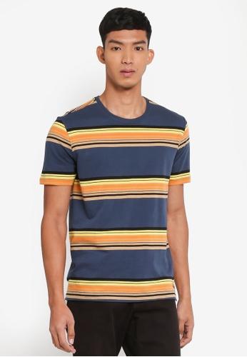 United Colors of Benetton 藍色 螺紋圓領橫條紋短袖T恤 679A4AA8617DA0GS_1