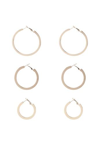 Red's Revenge gold 3-In-1 Modern Flat Hoop Earrings Set 101F3ACF7997BCGS_1