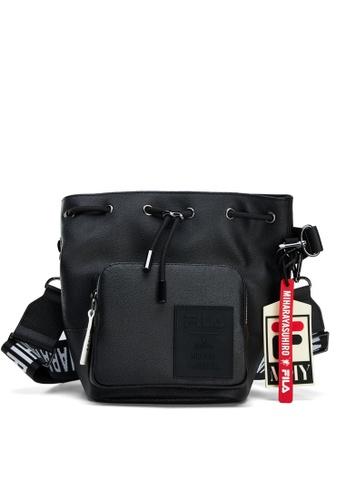 FILA black FILA x Maison MIHARA YASUHIRO Logo Drawstring Crossbody Bag A0EEBAC9DBAF1CGS_1