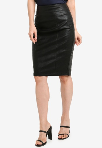 Forever New black Alice PU Pencil Skirt C8657AA9785267GS_1