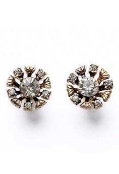 Faux Diamond Crystal Stud Earrings