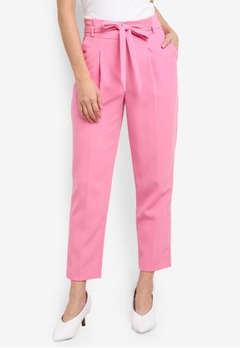 Miss Selfridge pink Petite Paper Bag Trousers MI665AA0SD8QMY_1