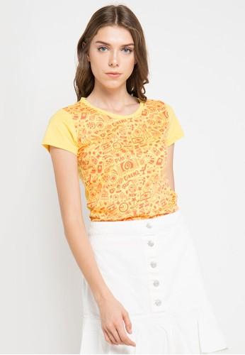 MEIJI-JOY yellow Print Cinema short sleeve Tshirt ME642AA0VRJYID_1