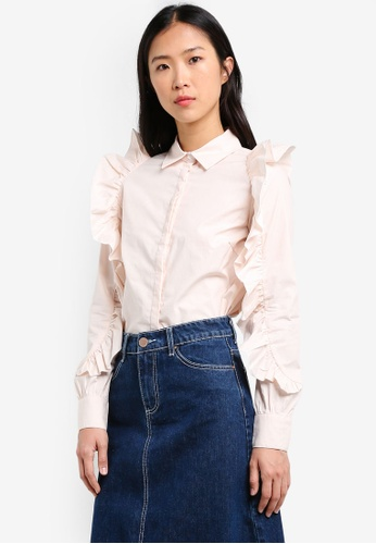 LOST INK pink Frill Sleeve Shirt LO238AA0RVIKMY_1