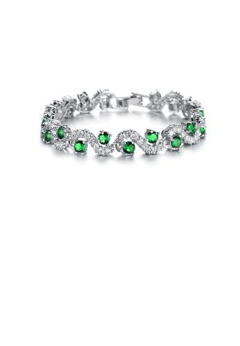 Glamorousky white Elegant Fashion Geometric Corrugated Green Cubic Zirconia Short Bracelet A16F2AC4D4E7FEGS_1