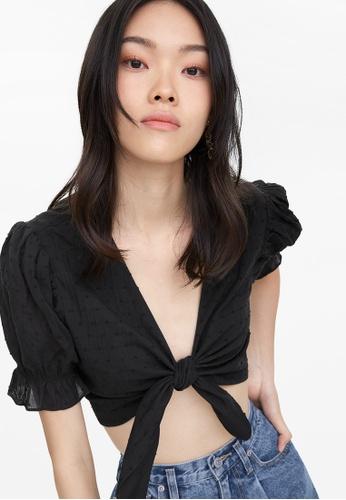 Pomelo black Puffed Sleeves Crop Tie Top - Black 1D23BAA150E43AGS_1