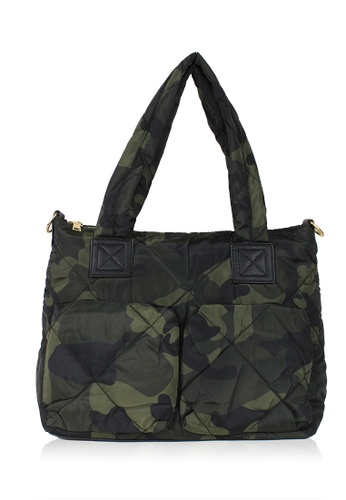 Dazz black and green Double Quilted Nylon Tote - Army DA408AC0S5NXMY_1