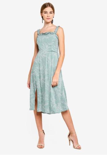 INDIKAH green Ruffle Trim Midi Dress With Front Split 11F78AAA73756CGS_1