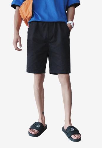 hk-ehunter 黑色 男士鬆緊腰運動短褲子 47963AA8683E78GS_1
