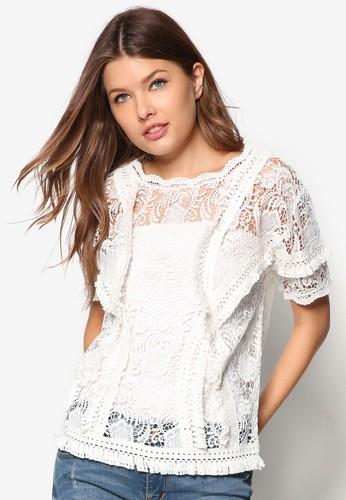 蕾zalora 評價絲鉤花短袖上衣, 服飾, 服飾
