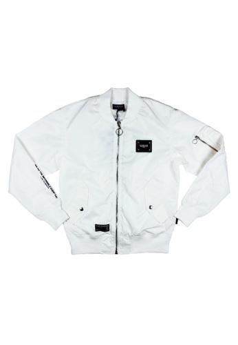 L.I.M.I.T.E white Nylon MA-1 Jacket LI425AA0GZKESG_1