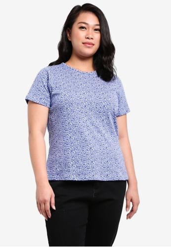 Ex'otico blue Plus Size Short Sleeve Printed Top EX373AA0RUVVMY_1