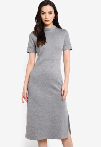 ZALORA WORK grey Mock Neck Midi Dress 196E0AA51B7DD3GS_1
