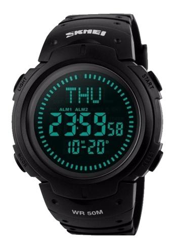 Skmei black SKMEI 1231 Men Outdoor Sports Compass Watch Waterproof LED Digital Watch (Black) SK707AC0S97OMY_1
