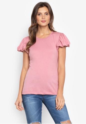 moondaze pink Jewel Puff Sleeves Top 950A7AA7F94161GS_1