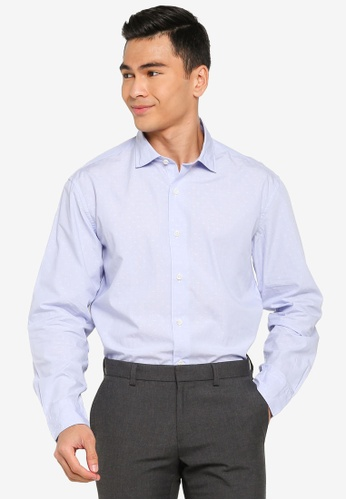 Sacoor Brothers blue Slim fit 100% cotton jaquard shirt DC048AA7FAA3BDGS_1