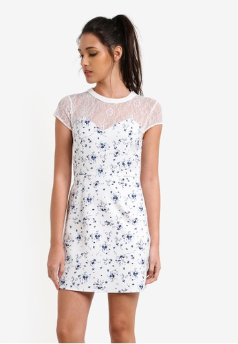 Something Borrowed white Cap Sleeve Fit and Flare Dress B5BECAA20D659BGS_1