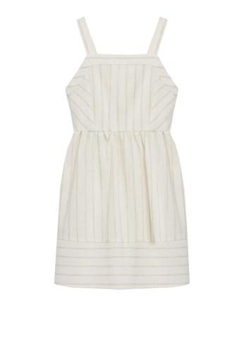 MANGO KIDS beige Stripe Textured Dress A6406KA45734CEGS_1