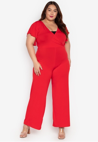 ab99a06bc50 Ashley Collection Plus red Plus Size V-Overlap Ruffle Sleeve Jumpsuit  A843CAA8A6321DGS 1